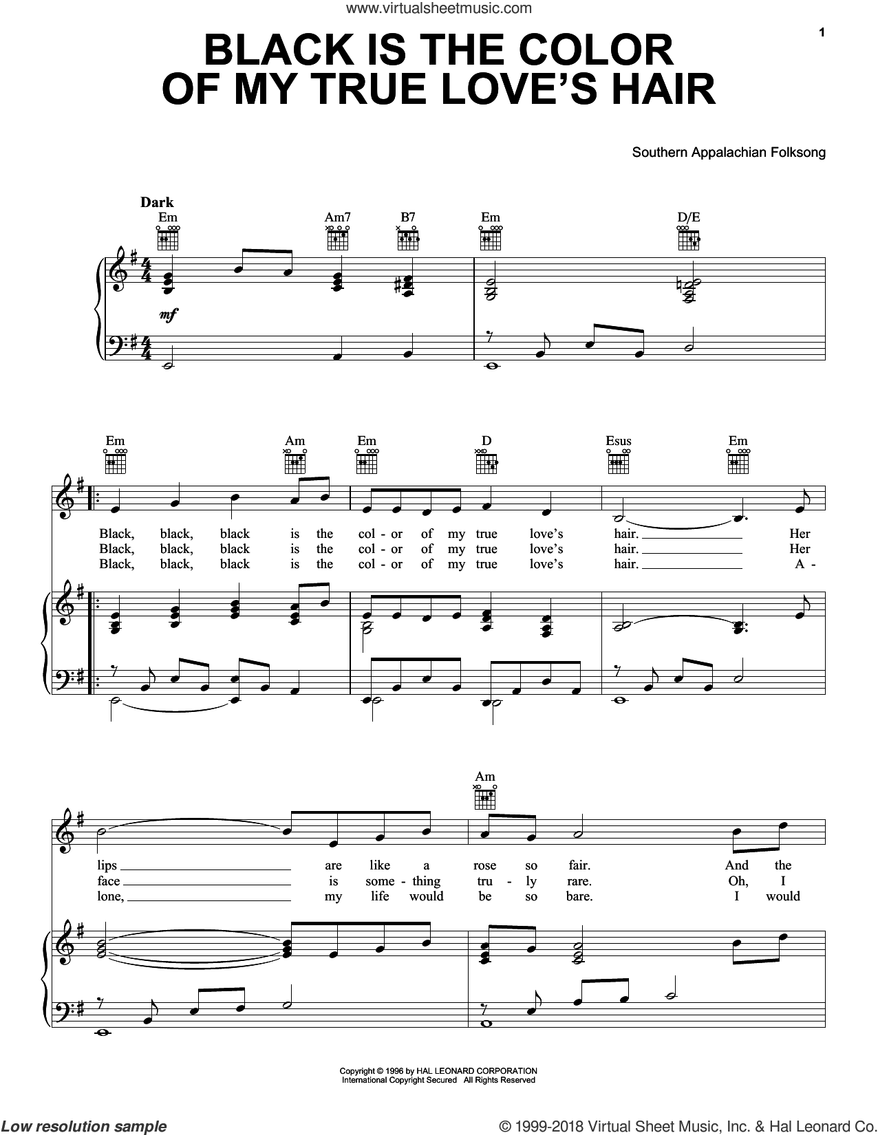 Black Is the Color of My True Love's Hair sheet music for voice, piano or guitar by Southern Appalachian Folksong. Score Image Preview.