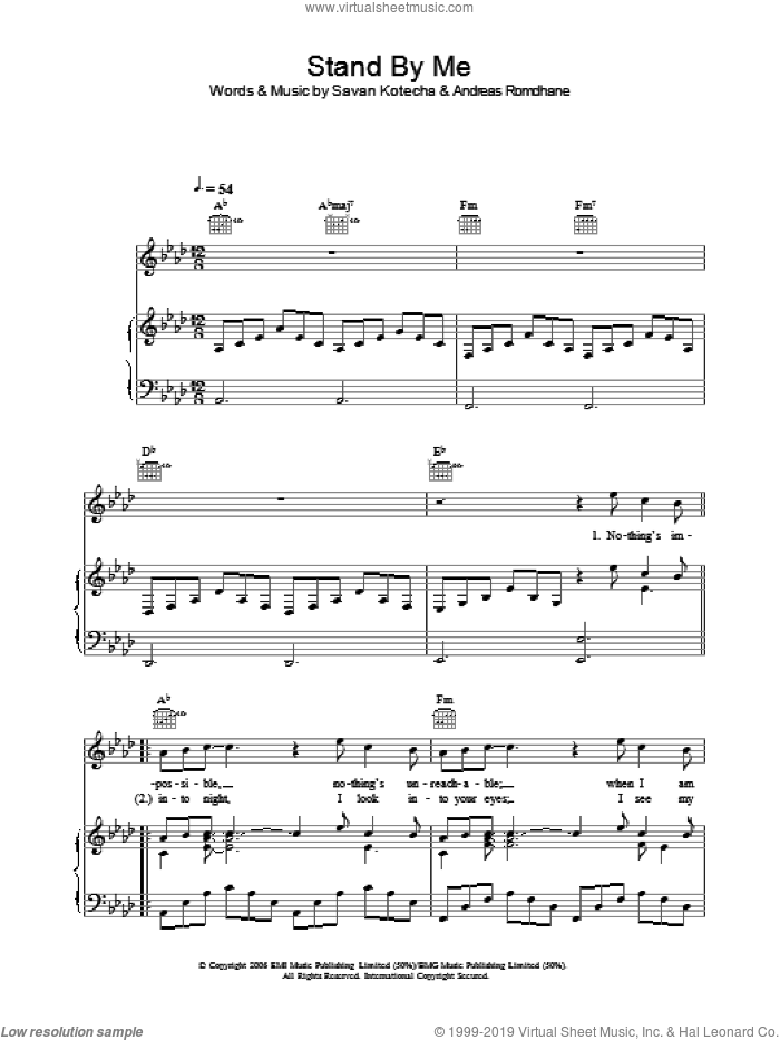 Stand By Me sheet music for voice, piano or guitar by Savan Kotecha and Andreas Romdhane. Score Image Preview.