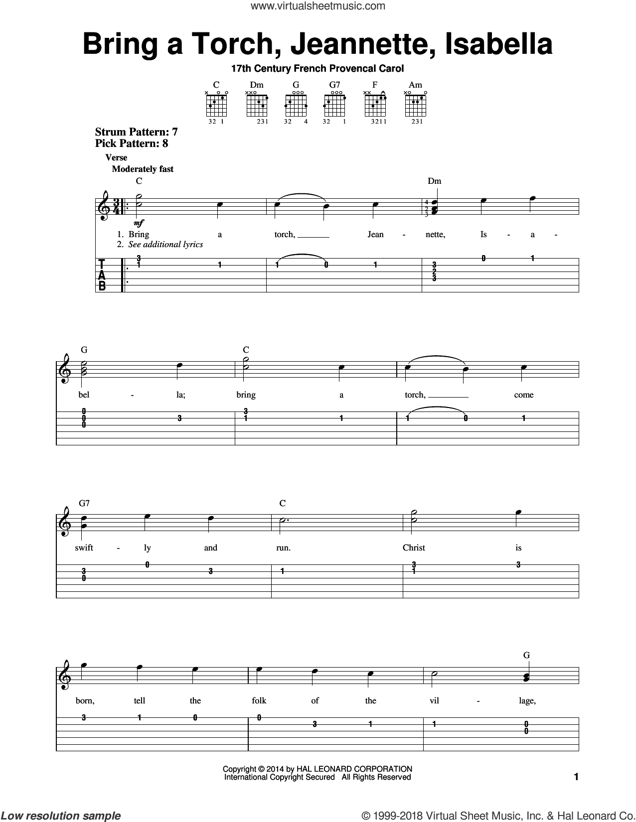 Bring A Torch, Jeannette, Isabella sheet music for guitar solo (easy tablature) by Anonymous and Miscellaneous. Score Image Preview.