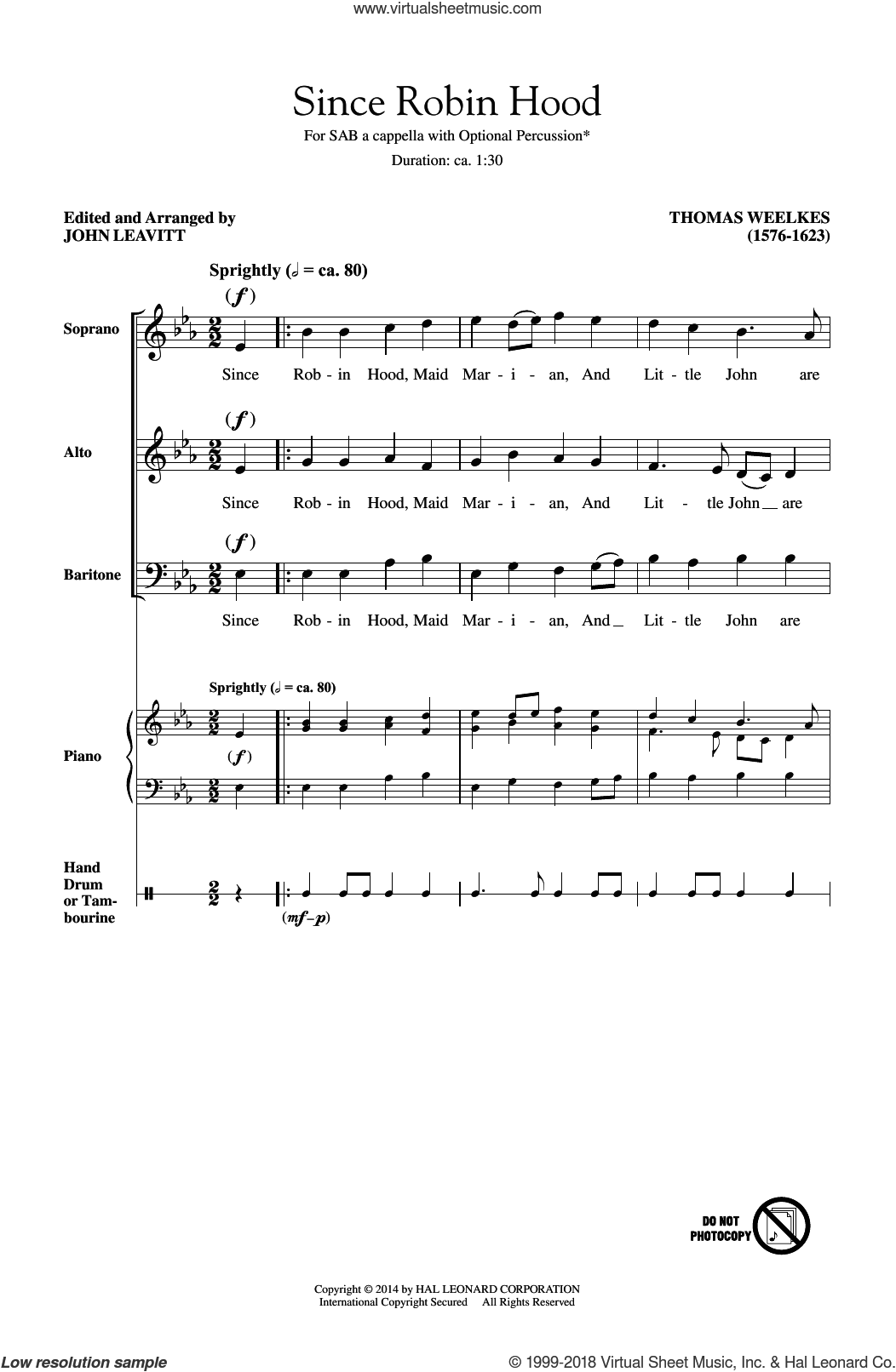 Since Robin Hood sheet music for choir (SAB) by Thomas Weelkes and John Leavitt, intermediate. Score Image Preview.
