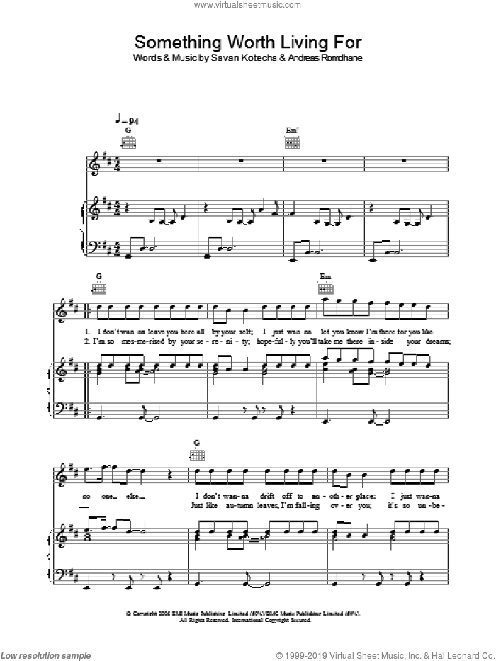 Something Worth Living For sheet music for voice, piano or guitar by Savan Kotecha and Andreas Romdhane. Score Image Preview.