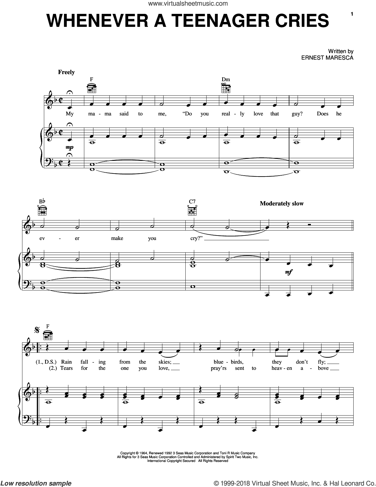 Whenever A Teenager Cries sheet music for voice, piano or guitar by Reparata & The Delrons and Ernie Maresca, intermediate