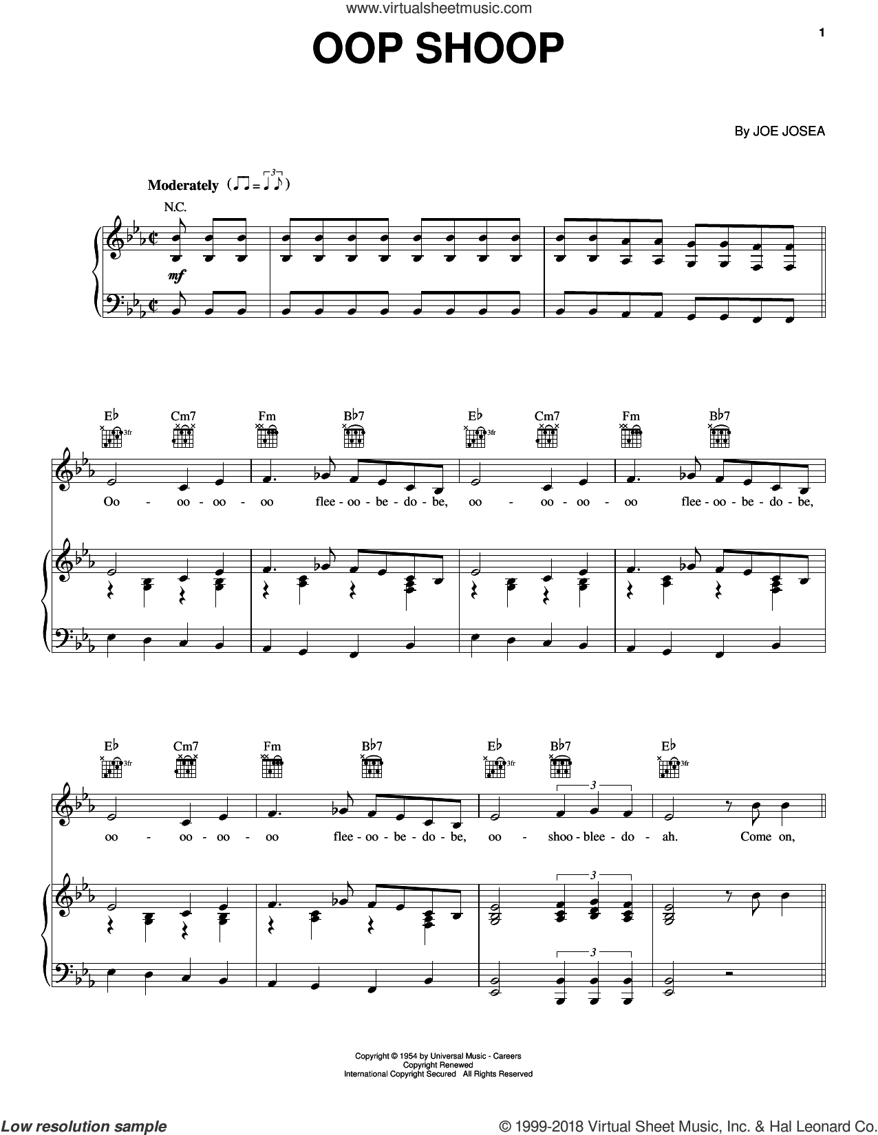 Oop Shoop sheet music for voice, piano or guitar by Shirley Gunter & The Queens, intermediate. Score Image Preview.