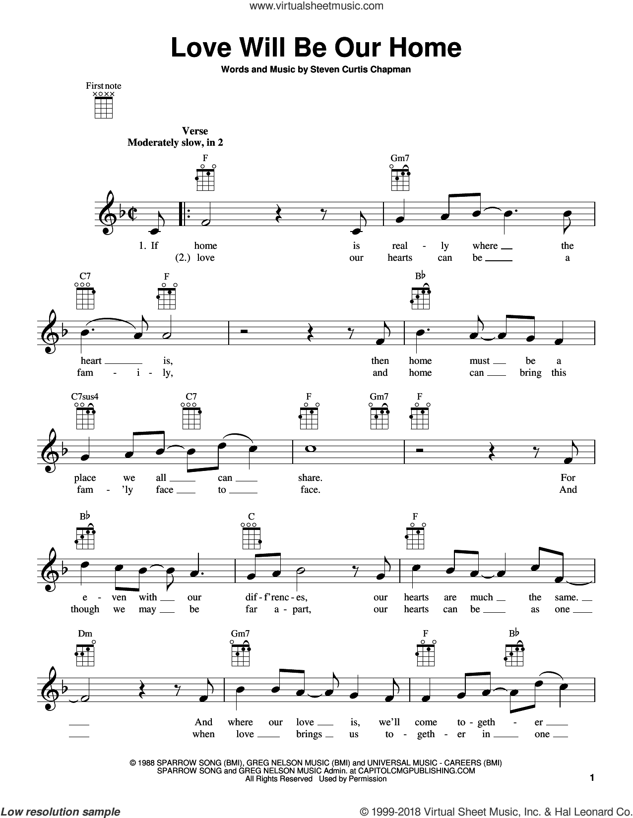 Love Will Be Our Home sheet music for ukulele by Steven Curtis Chapman and Sandi Patty, intermediate skill level