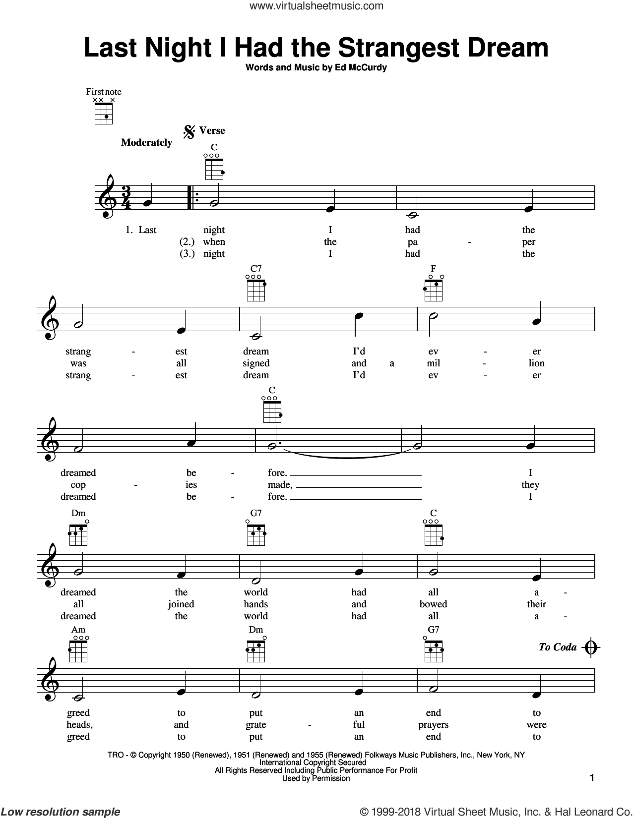 Last Night I Had The Strangest Dream sheet music for ukulele by Ed McCurdy and Simon & Garfunkel, intermediate skill level