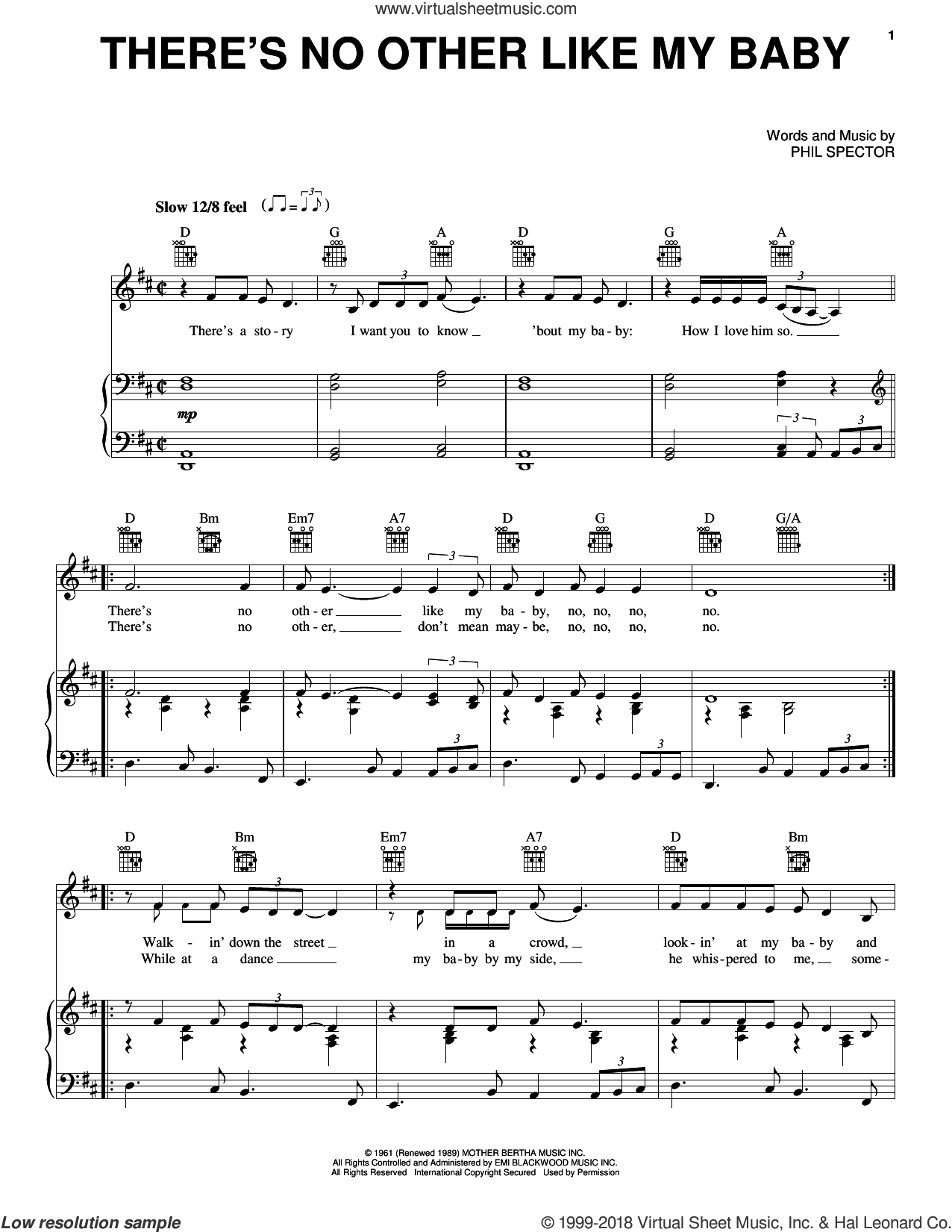 There's No Other Like My Baby sheet music for voice, piano or guitar by The Crystals, Leroy Bates and Phil Spector, intermediate skill level