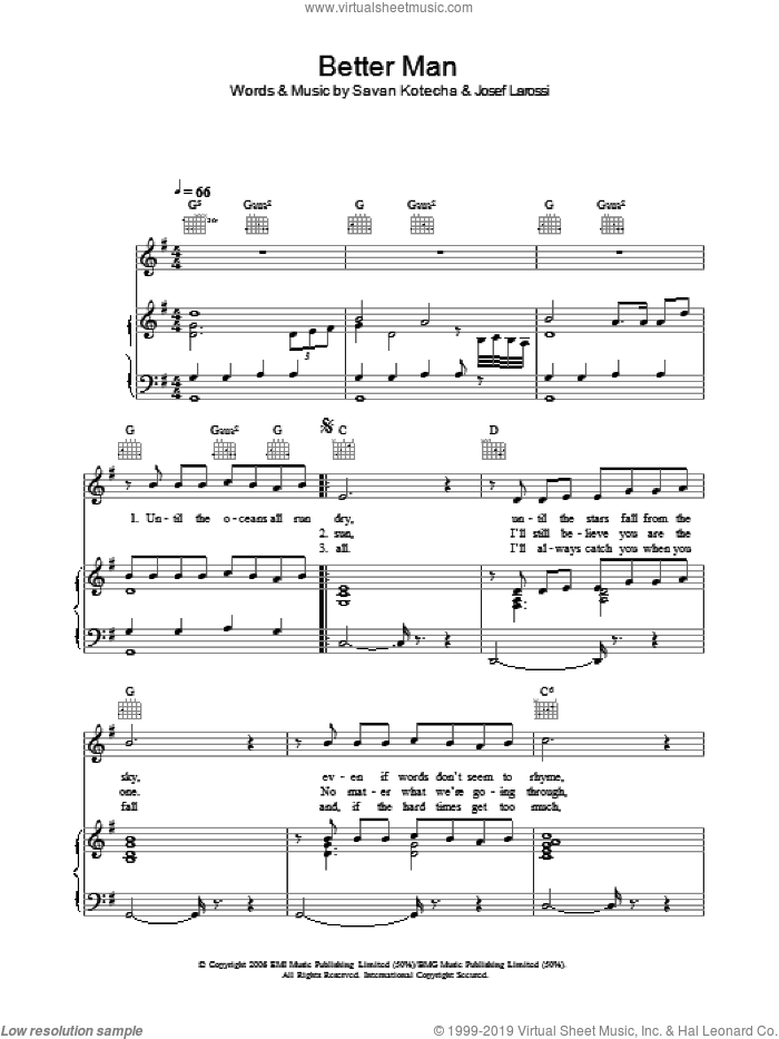 A Better Man sheet music for voice, piano or guitar by Savan Kotecha and Josef Larossi. Score Image Preview.