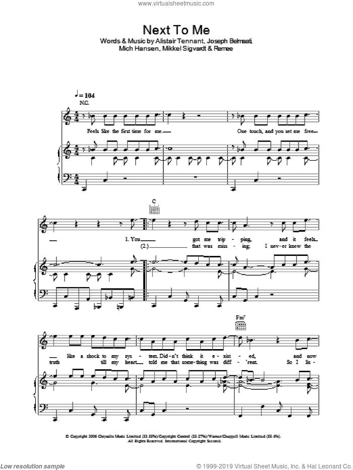 Next To Me sheet music for voice, piano or guitar by Shayne Ward, Alistair Tennant, Joseph Belmaati, Mich Hansen, Mikkel Sigvardt and Remee, intermediate skill level