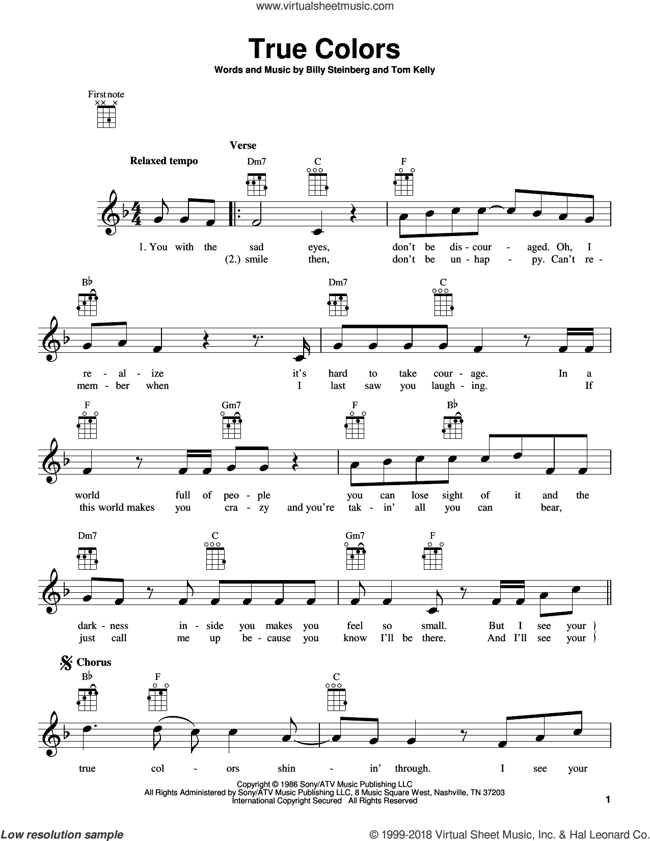True Colors sheet music for ukulele by Billy Steinberg, Cyndi Lauper, Phil Collins and Tom Kelly, intermediate skill level