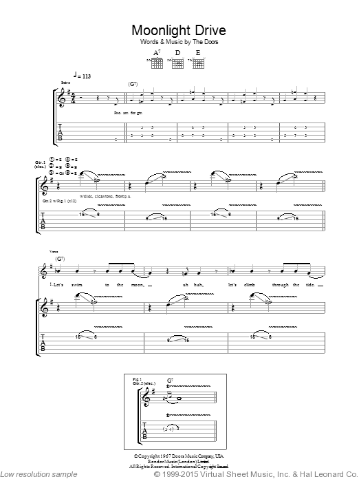Moonlight Drive sheet music for guitar (tablature) by The Doors