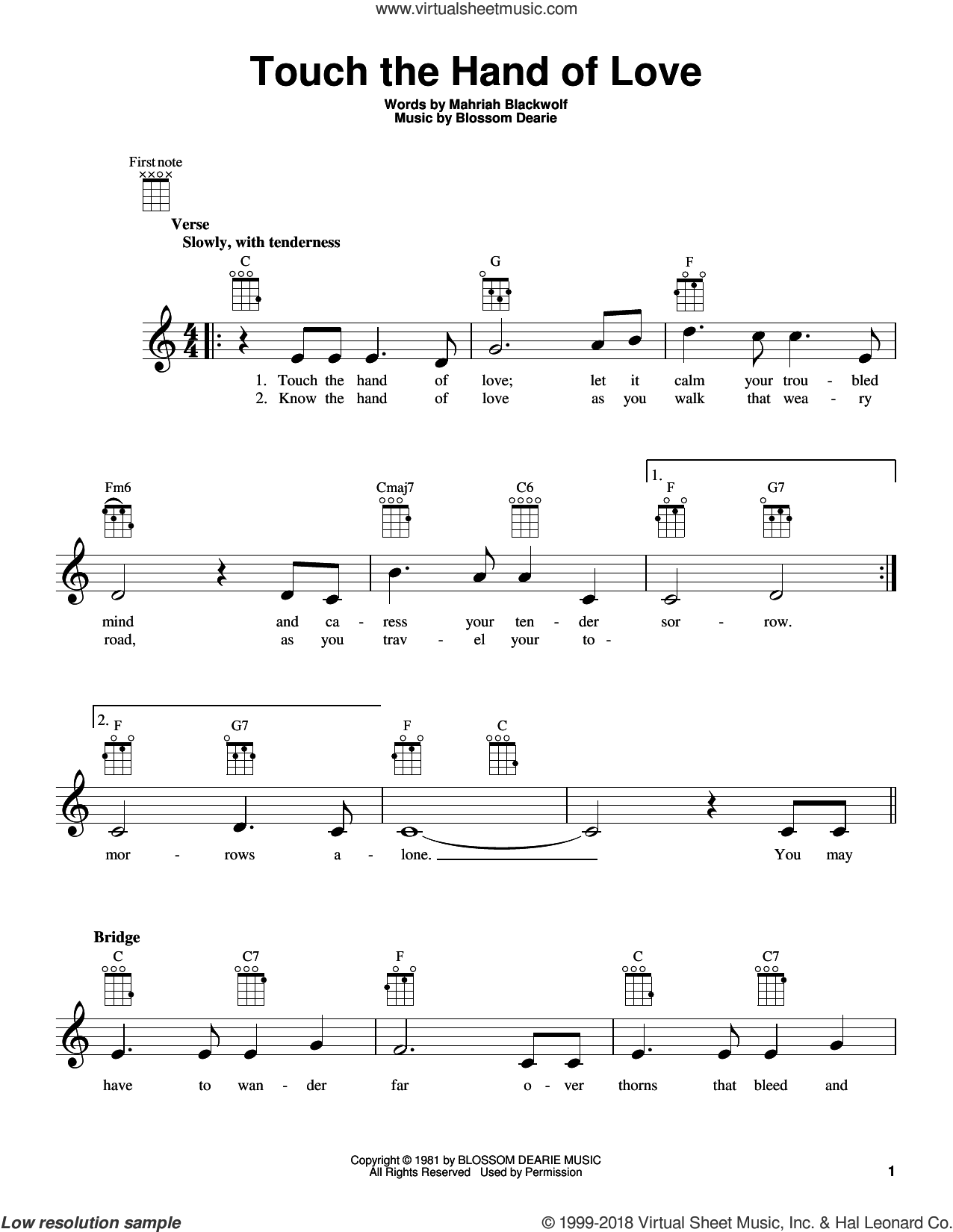 Touch The Hand Of Love sheet music for ukulele by Blossom Dearie and Mahriah Blackwolf, intermediate skill level