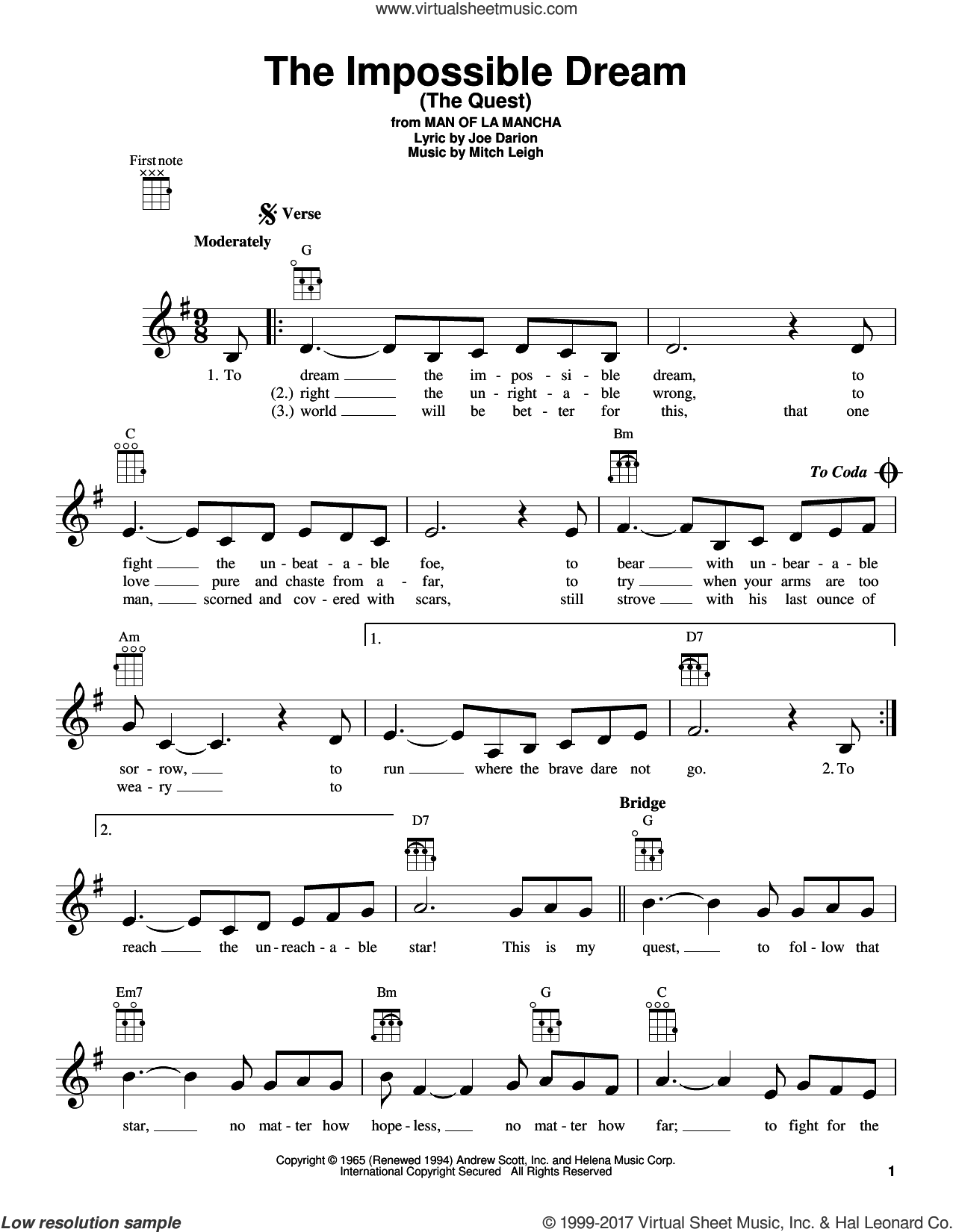 The Impossible Dream (The Quest) sheet music for ukulele by Mitch Leigh and Joe Darion, intermediate skill level