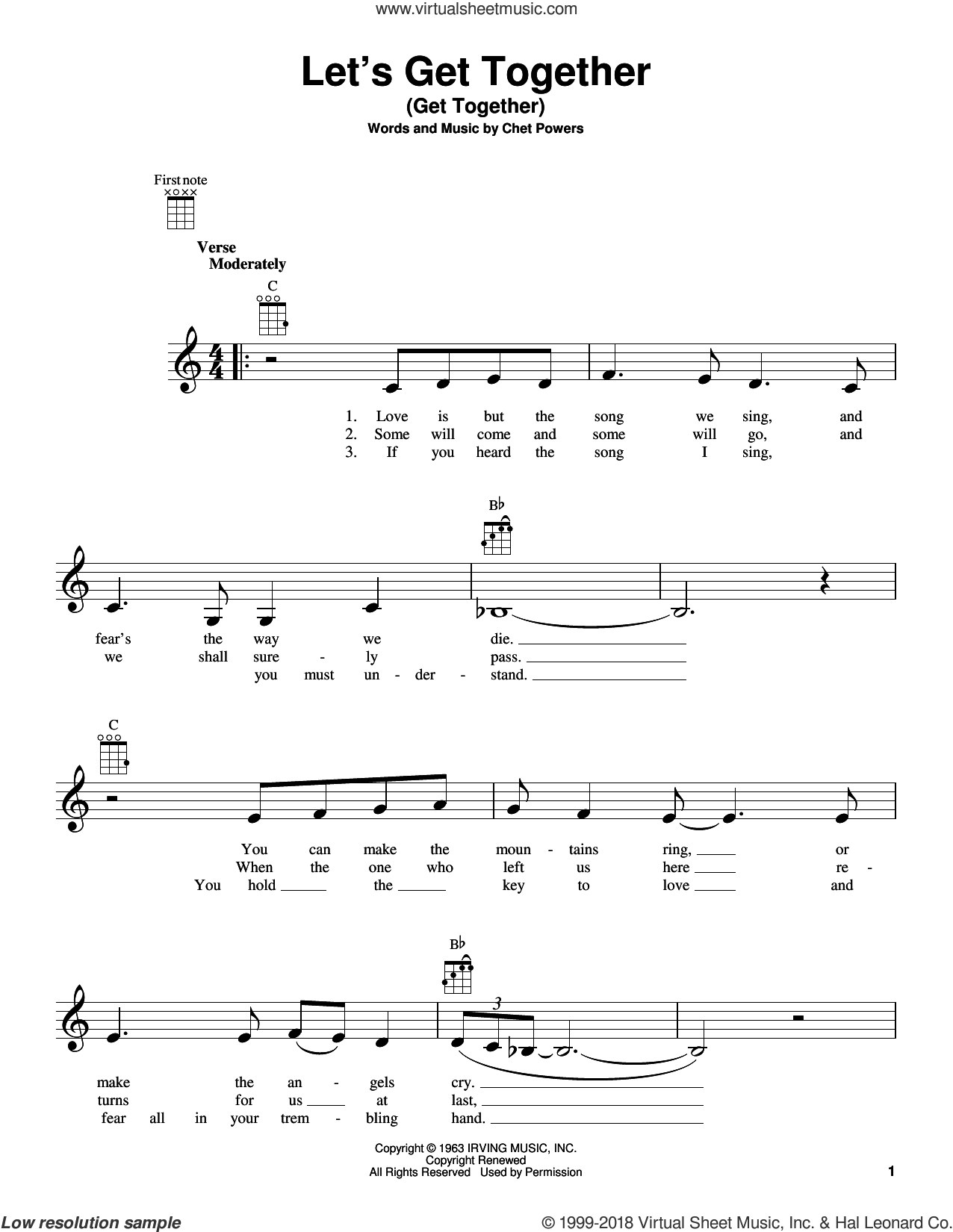 Let's Get Together (Get Together) sheet music for ukulele by Chet Powers, Big Mountain, Indigo Girls and The Youngbloods, intermediate skill level