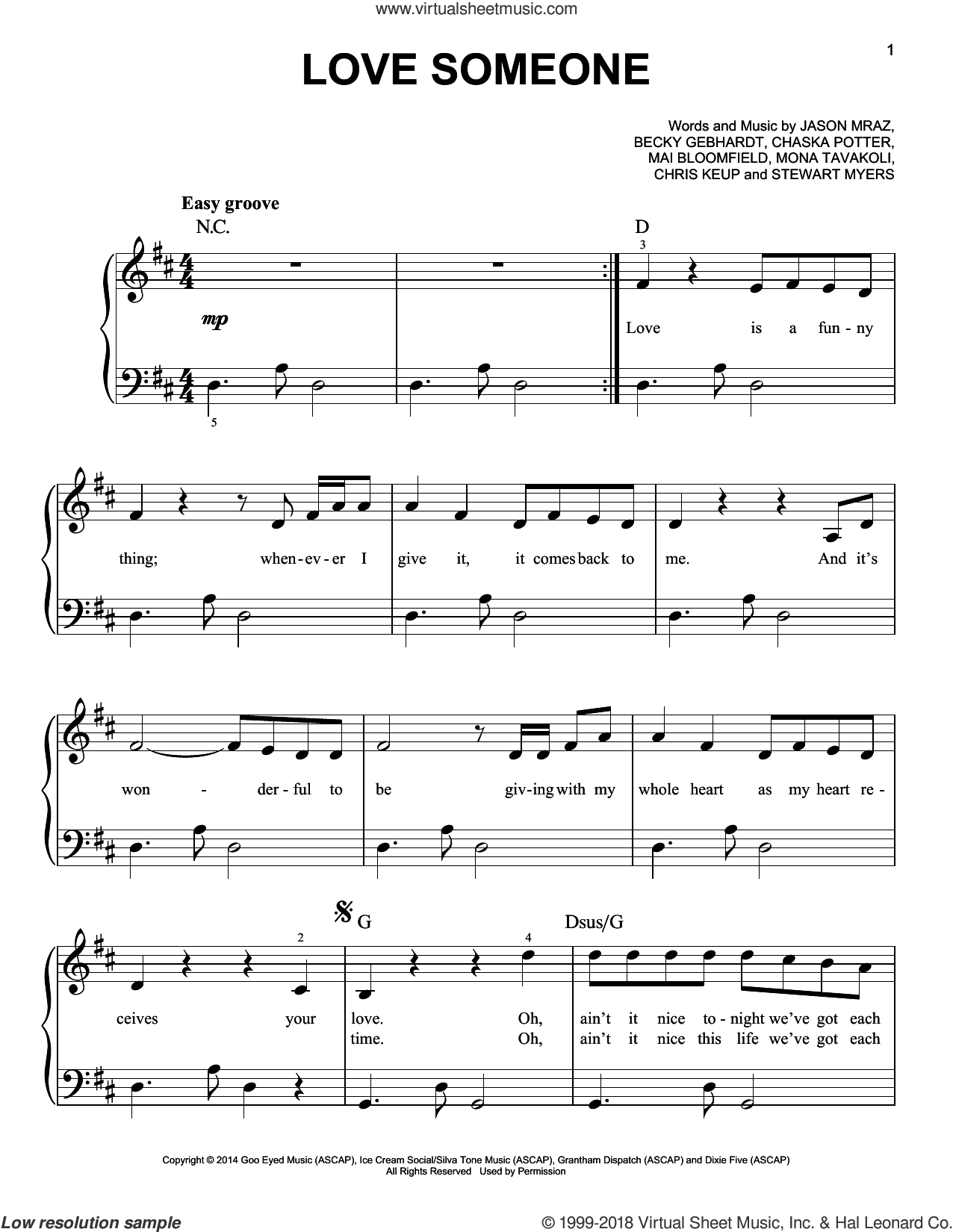 Love Someone sheet music for piano solo by Jason Mraz, easy piano. Score Image Preview.