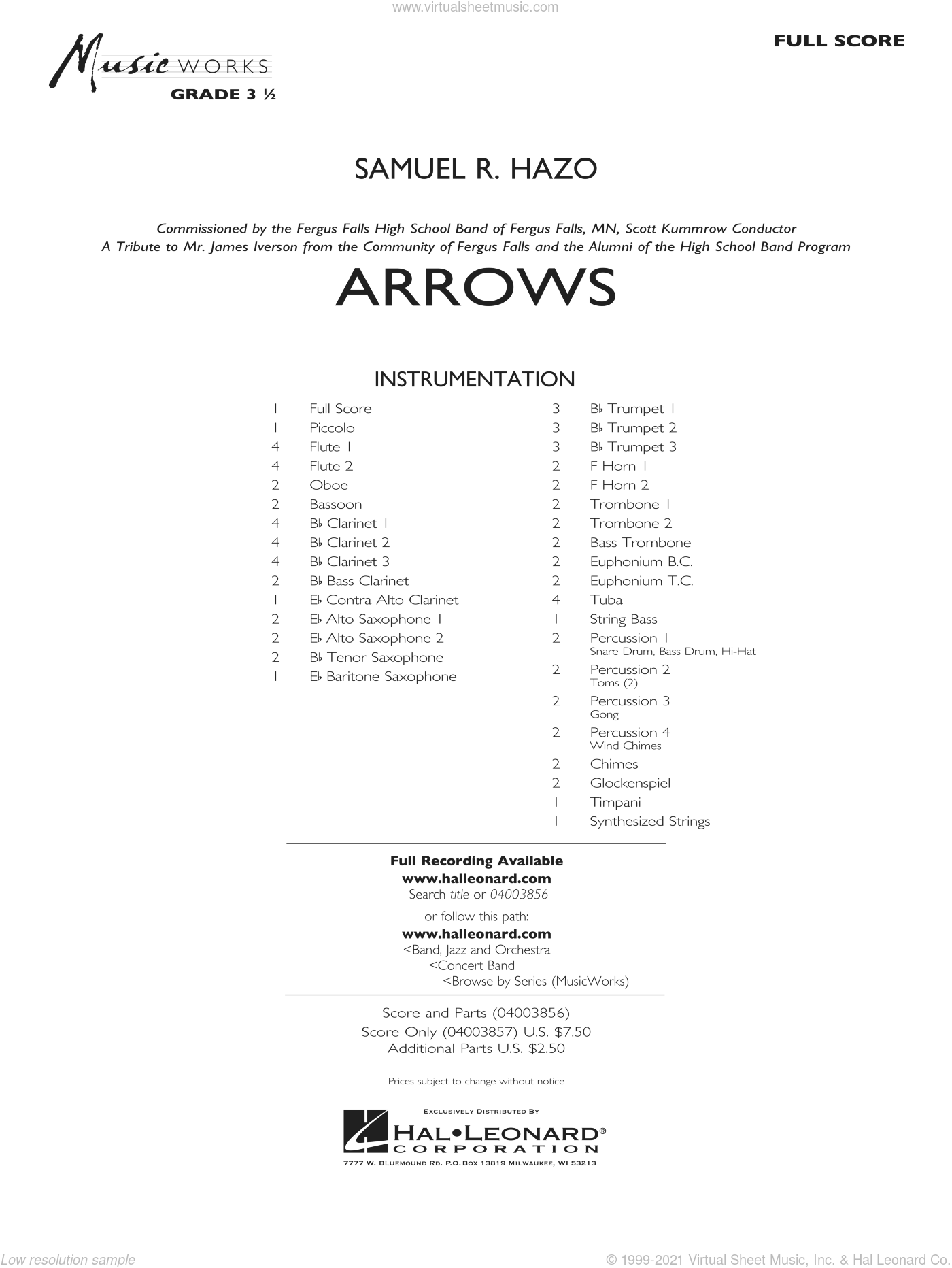 Arrows sheet music for concert band (full score) by Samuel R. Hazo