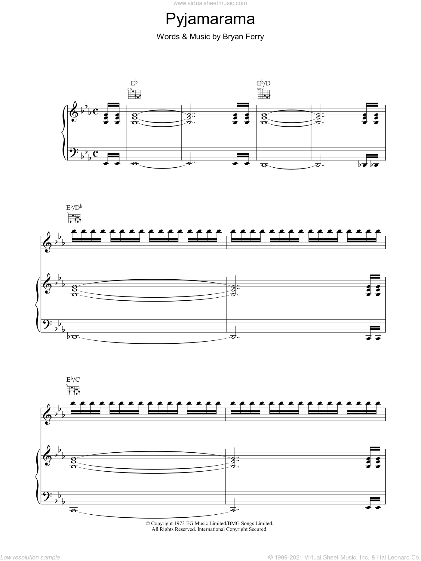 Pyjamarama sheet music for voice, piano or guitar by Roxy Music and Bryan Ferry, intermediate. Score Image Preview.