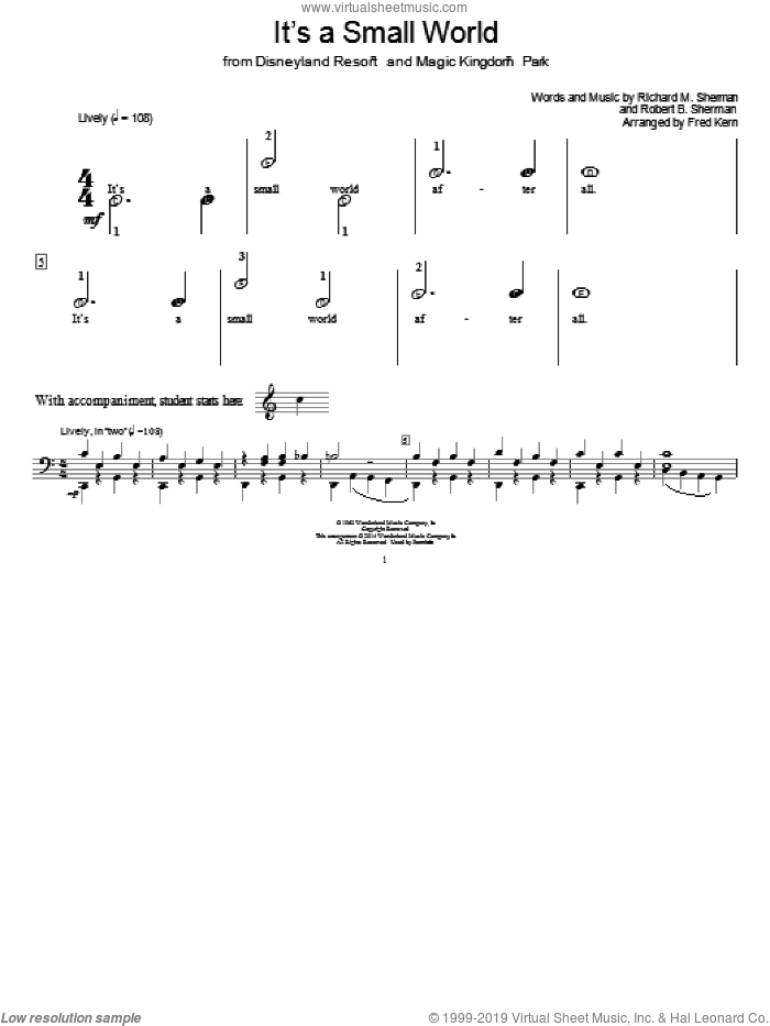 It's A Small World sheet music for piano solo (elementary) by Richard M. Sherman, Fred Kern and Robert B. Sherman, beginner piano (elementary)
