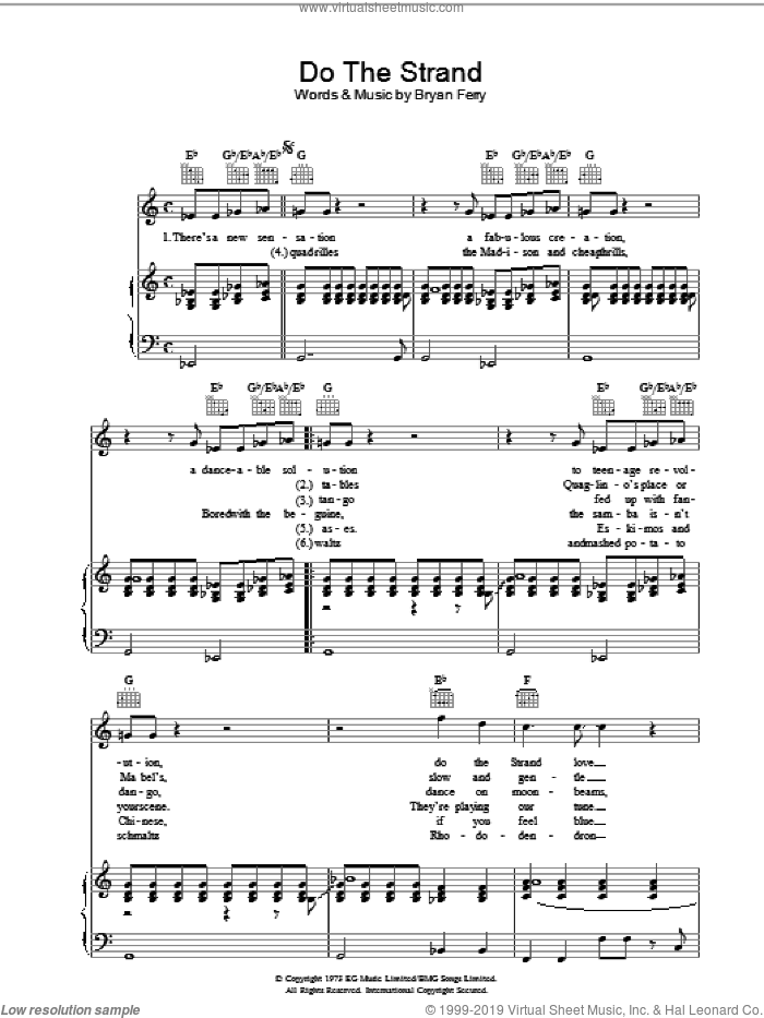 Do The Strand sheet music for voice, piano or guitar by Bryan Ferry and Roxy Music. Score Image Preview.