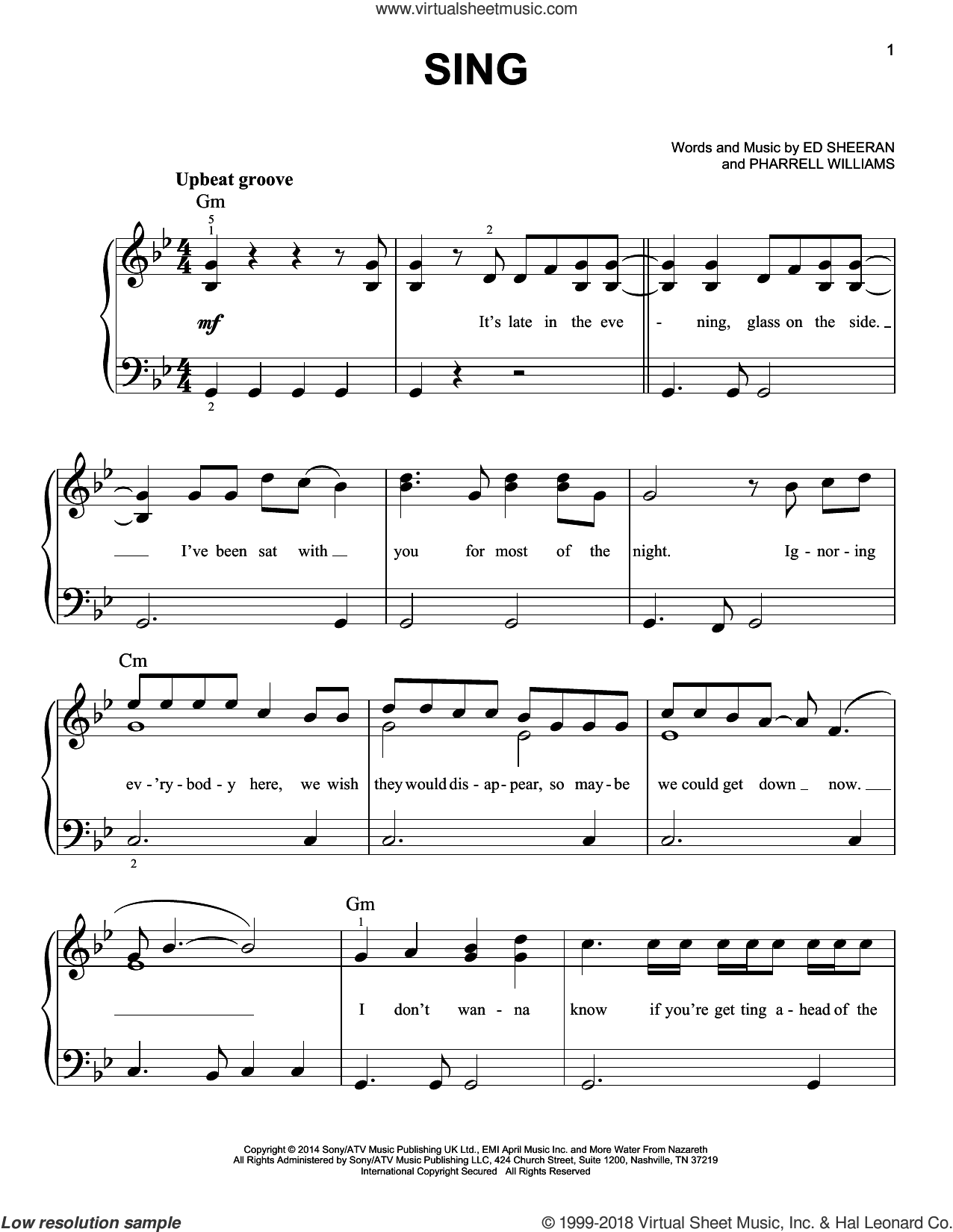 Sing sheet music for piano solo by Pharrell Williams and Ed Sheeran. Score Image Preview.