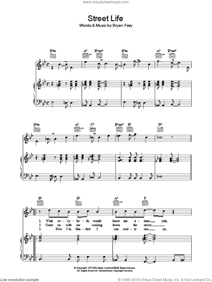 Street Life sheet music for voice, piano or guitar by Roxy Music and Bryan Ferry. Score Image Preview.
