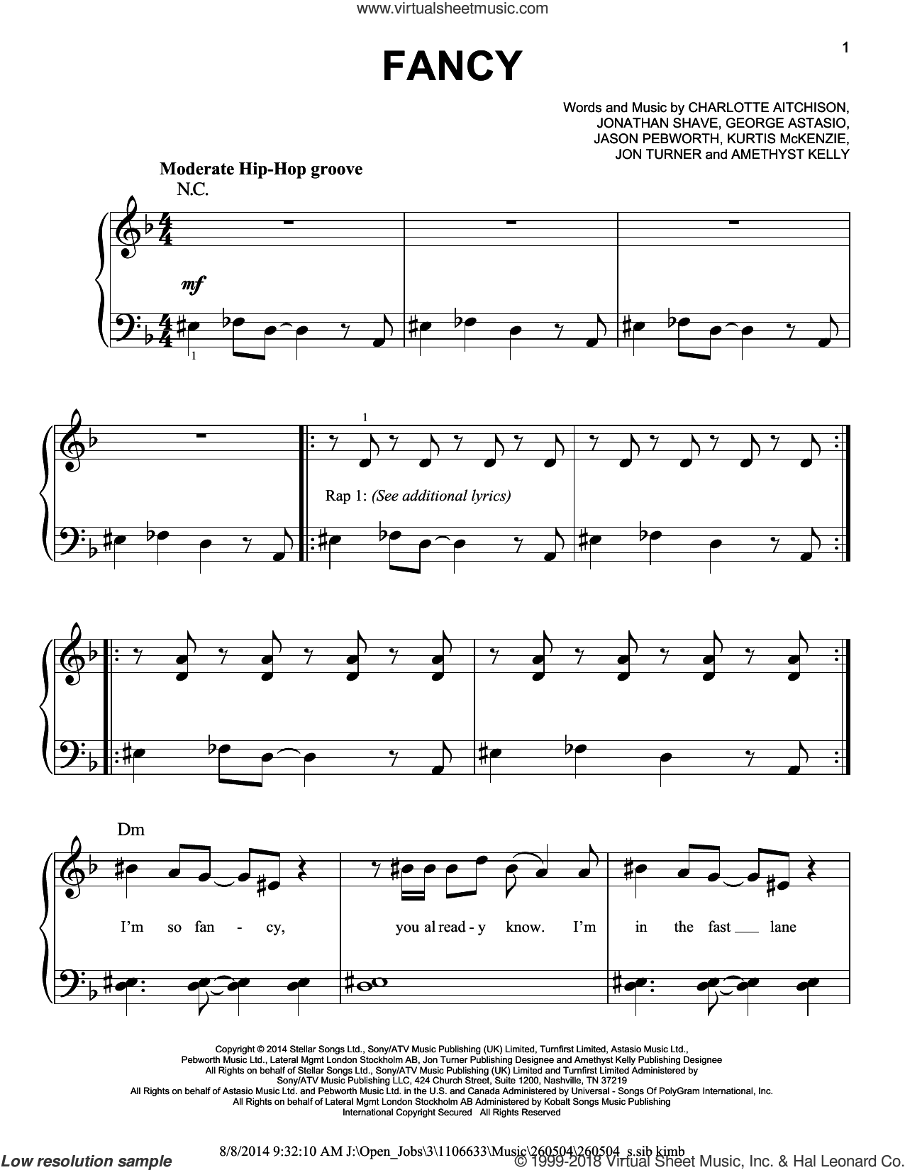 Fancy sheet music for piano solo by Iggy Azalea Featuring Charli XCX, Amethyst Kelly, Charlotte Aitchison, George Astasio, Jason Pebworth, Jon Turner, Jonathan Shave and Kurtis McKenzie, easy