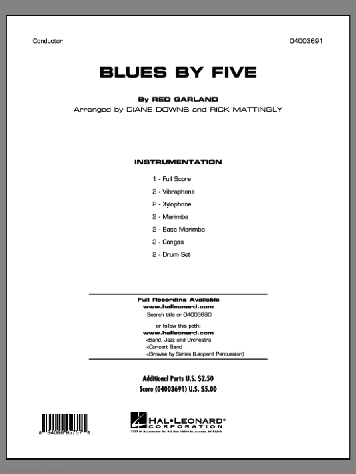 Blues By Five (COMPLETE) sheet music for concert band by Miles Davis, Diane Downs and Red Garland, intermediate skill level