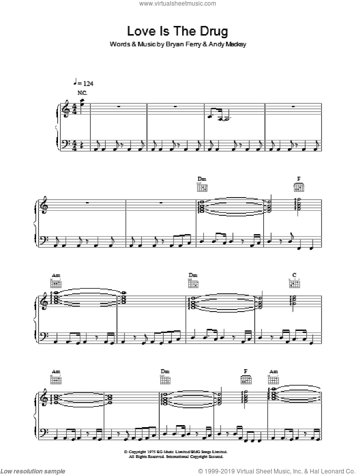 Love Is The Drug sheet music for voice, piano or guitar by Roxy Music, Andy Mackay and Bryan Ferry, intermediate. Score Image Preview.