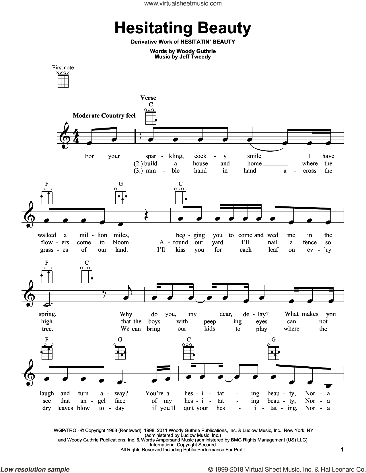 Hesitating Beauty sheet music for ukulele by Woody Guthrie and Jeff Tweedy, intermediate skill level