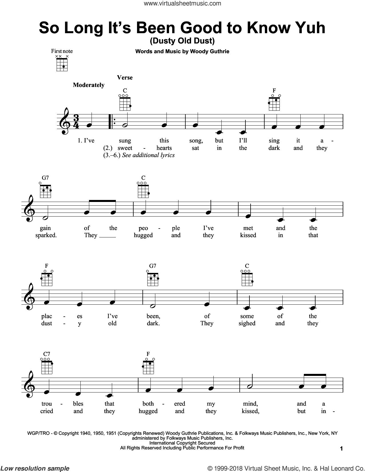 So Long It's Been Good To Know Yuh (Dusty Old Dust) sheet music for ukulele by Woody Guthrie, intermediate. Score Image Preview.