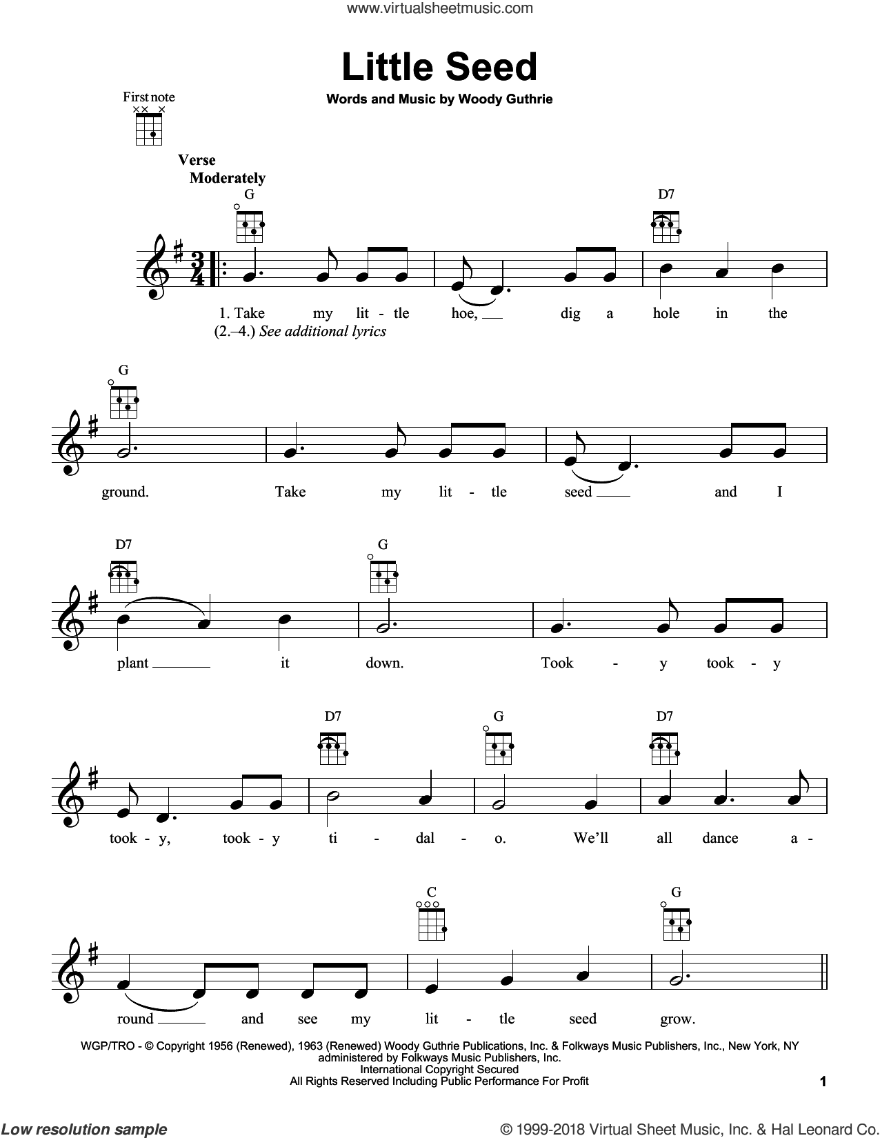 Little Seed sheet music for ukulele by Woody Guthrie. Score Image Preview.