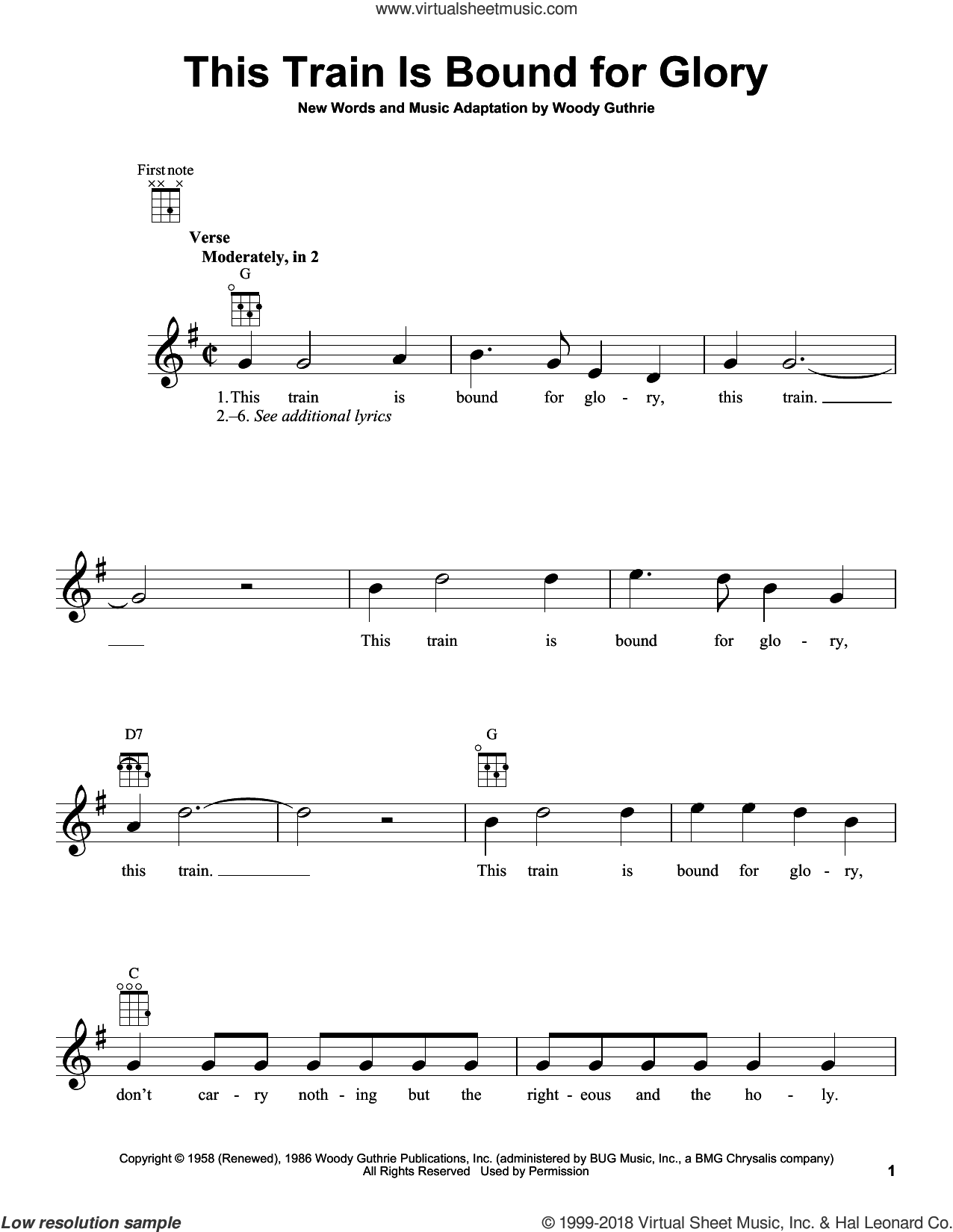 This Train Is Bound For Glory sheet music for ukulele by Woody Guthrie, intermediate. Score Image Preview.