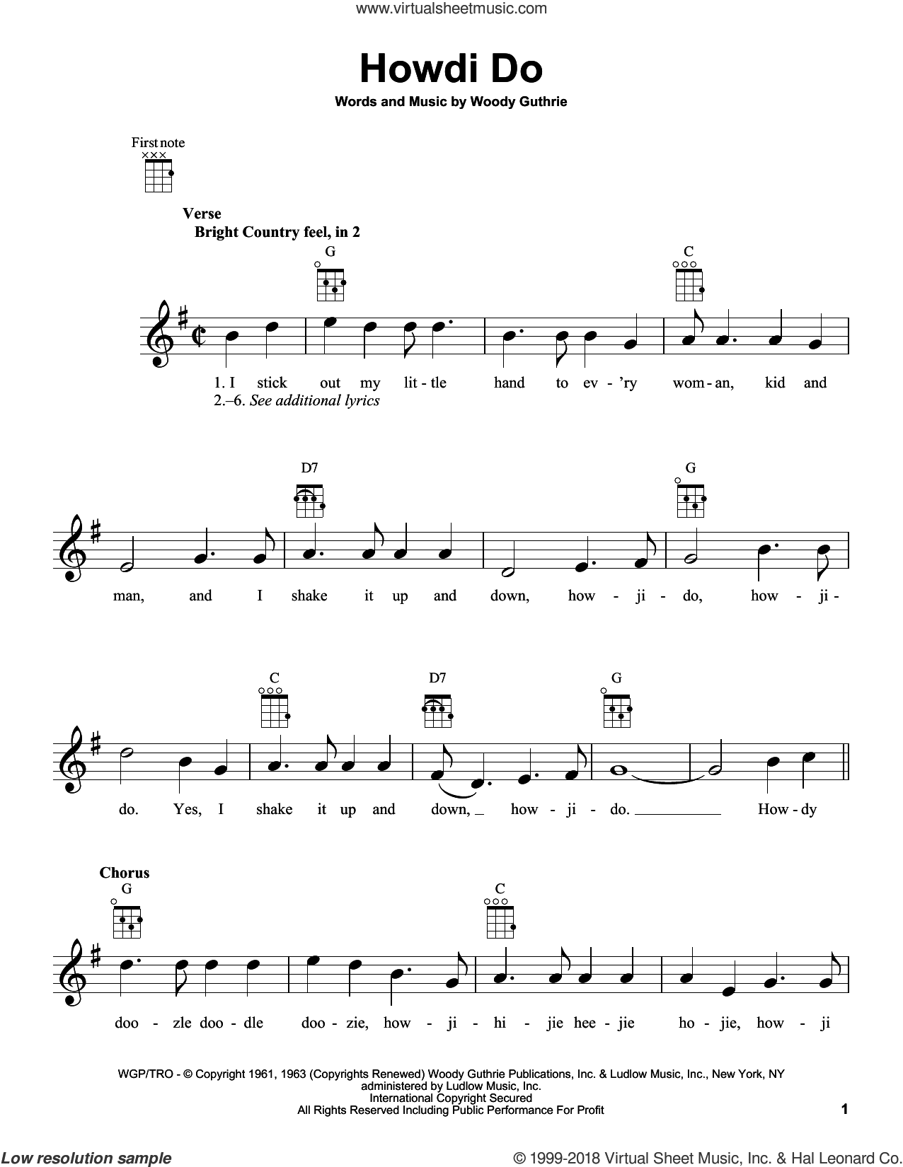 Howdi Do sheet music for ukulele by Woody Guthrie, intermediate skill level