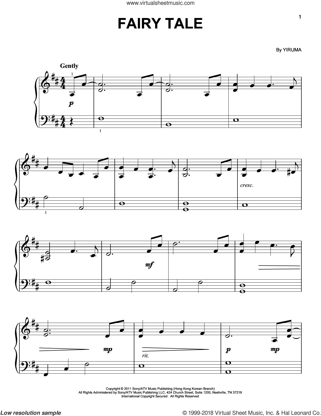 Fairy Tale sheet music for piano solo by Yiruma, classical score, easy skill level