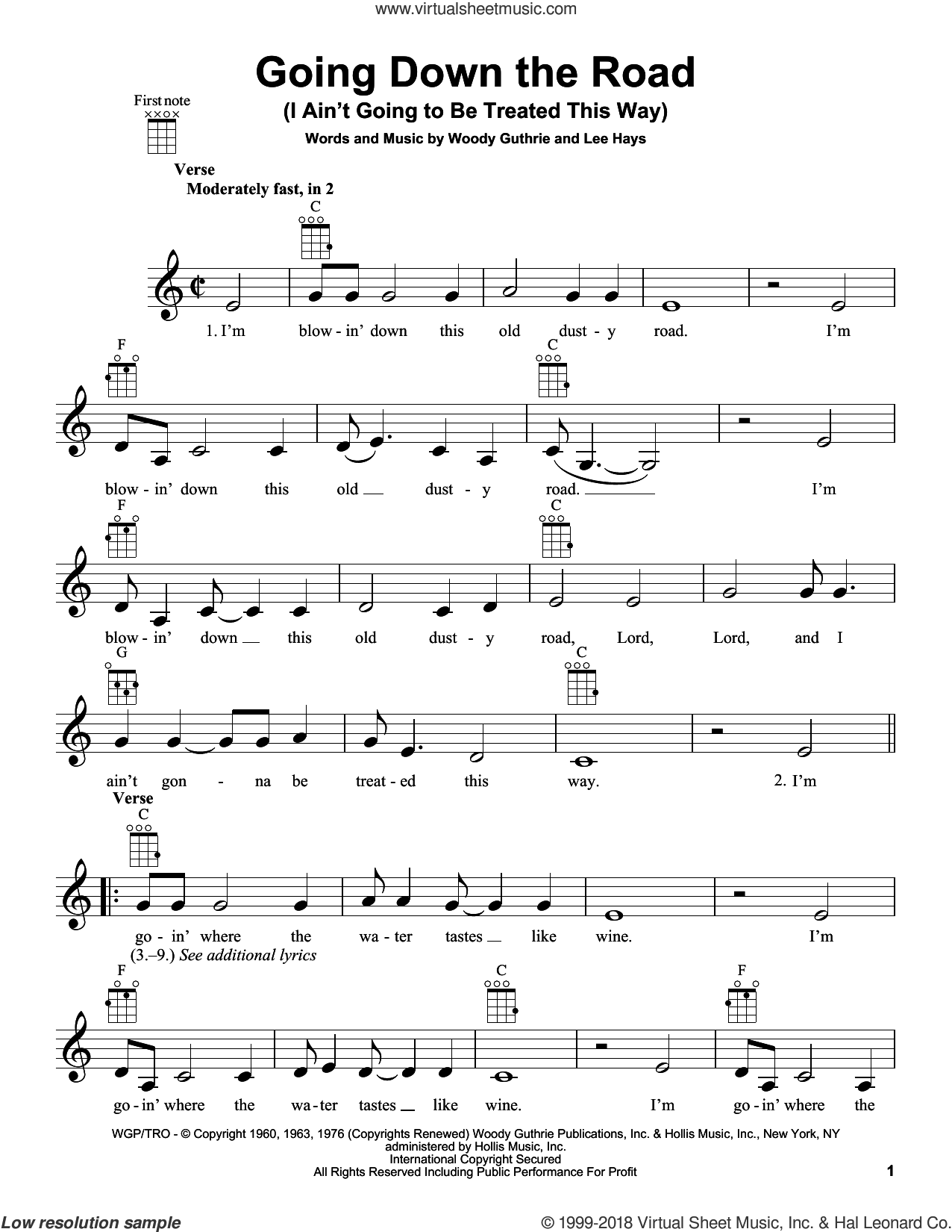 Going Down The Road (I Ain't Going To Be Treated This Way) sheet music for ukulele by Woody Guthrie, intermediate ukulele. Score Image Preview.