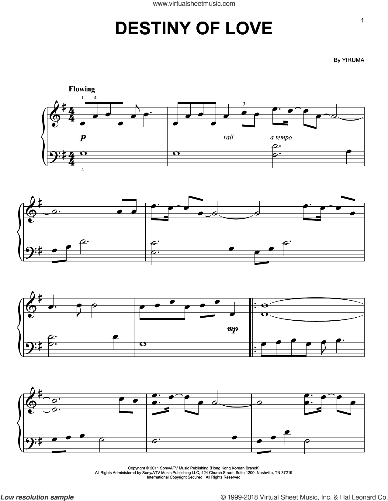 Destiny Of Love sheet music for piano solo by Yiruma, classical score, easy skill level