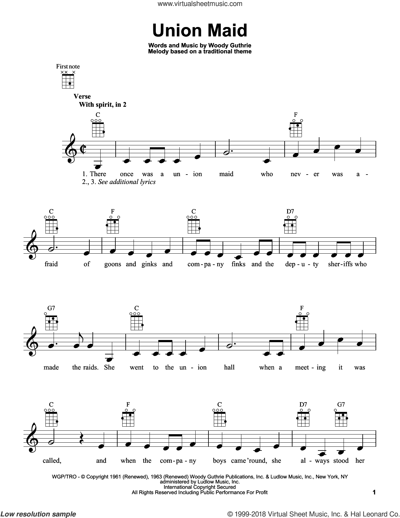 Union Maid sheet music for ukulele by Woody Guthrie. Score Image Preview.
