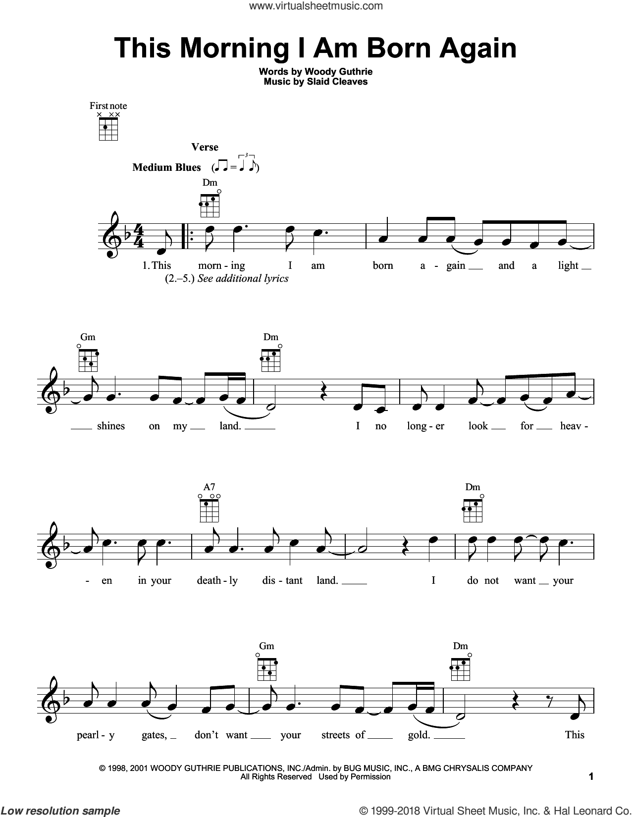 This Morning I Am Born Again sheet music for ukulele by Woody Guthrie and Slaid Cleaves, intermediate skill level