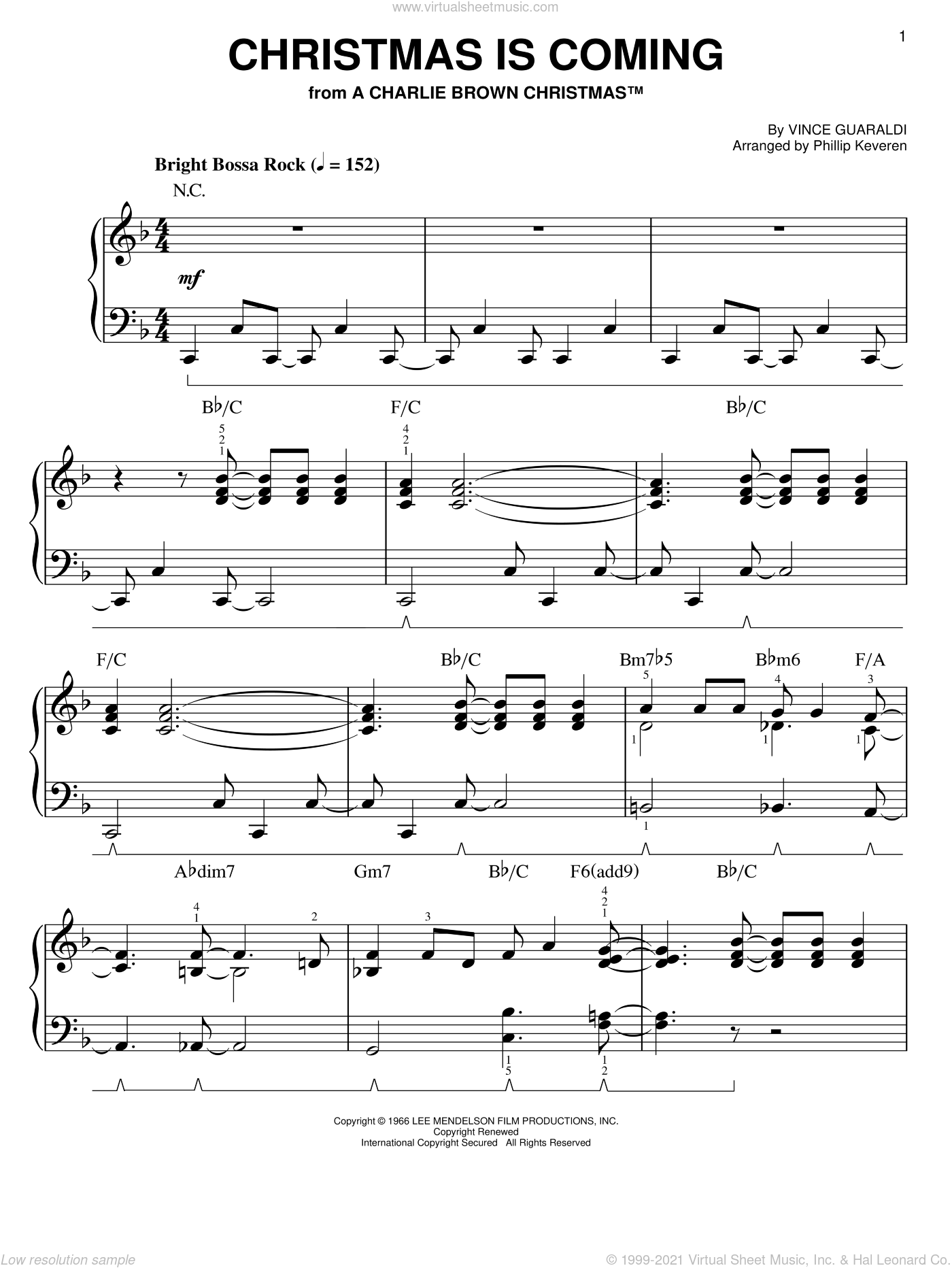 Christmas Is Coming sheet music for piano solo by Vince Guaraldi and Phillip Keveren. Score Image Preview.