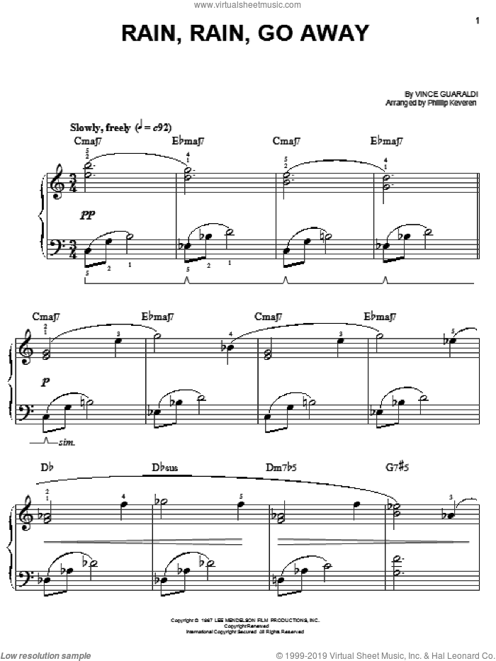 Rain, Rain, Go Away sheet music for piano solo by Vince Guaraldi and Phillip Keveren. Score Image Preview.