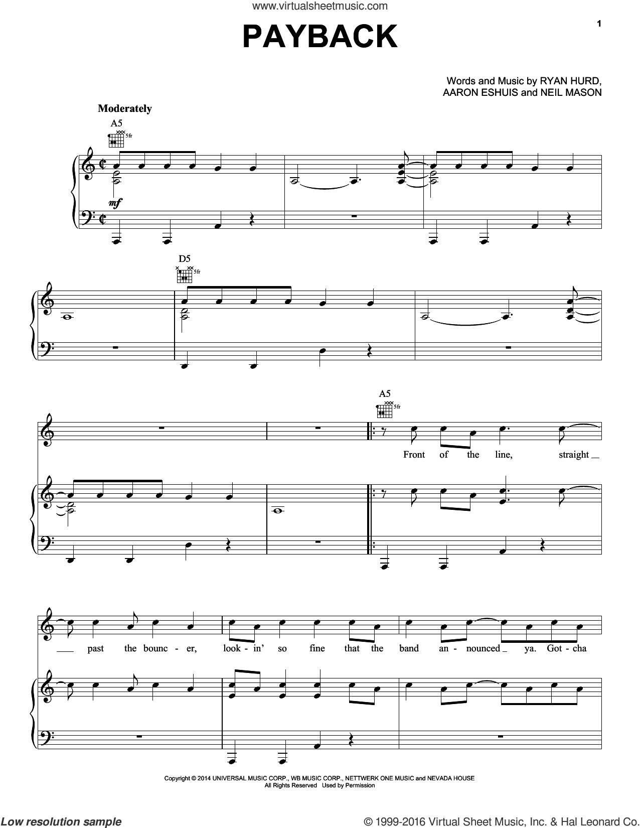Payback sheet music for voice, piano or guitar by Rascal Flatts, Aaron Eshuis, Neil Mason and Ryan Hurd, intermediate skill level