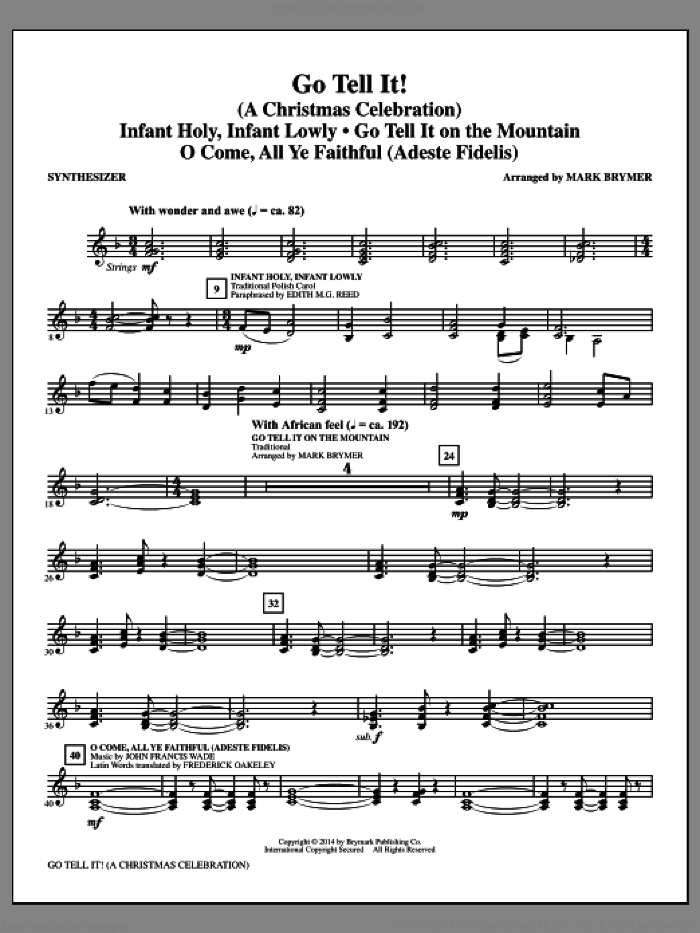 Go Tell It! (complete set of parts) sheet music for orchestra/band by Mark Brymer, intermediate. Score Image Preview.