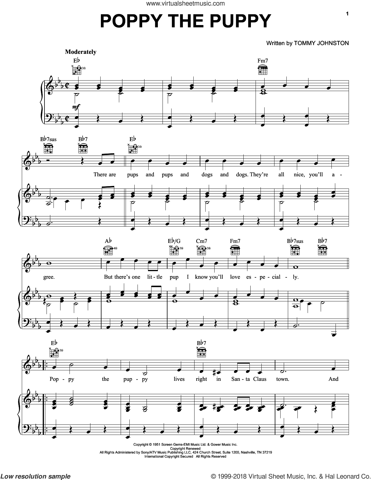 Poppy The Puppy sheet music for voice, piano or guitar by T. Johnson and Gene Autry. Score Image Preview.