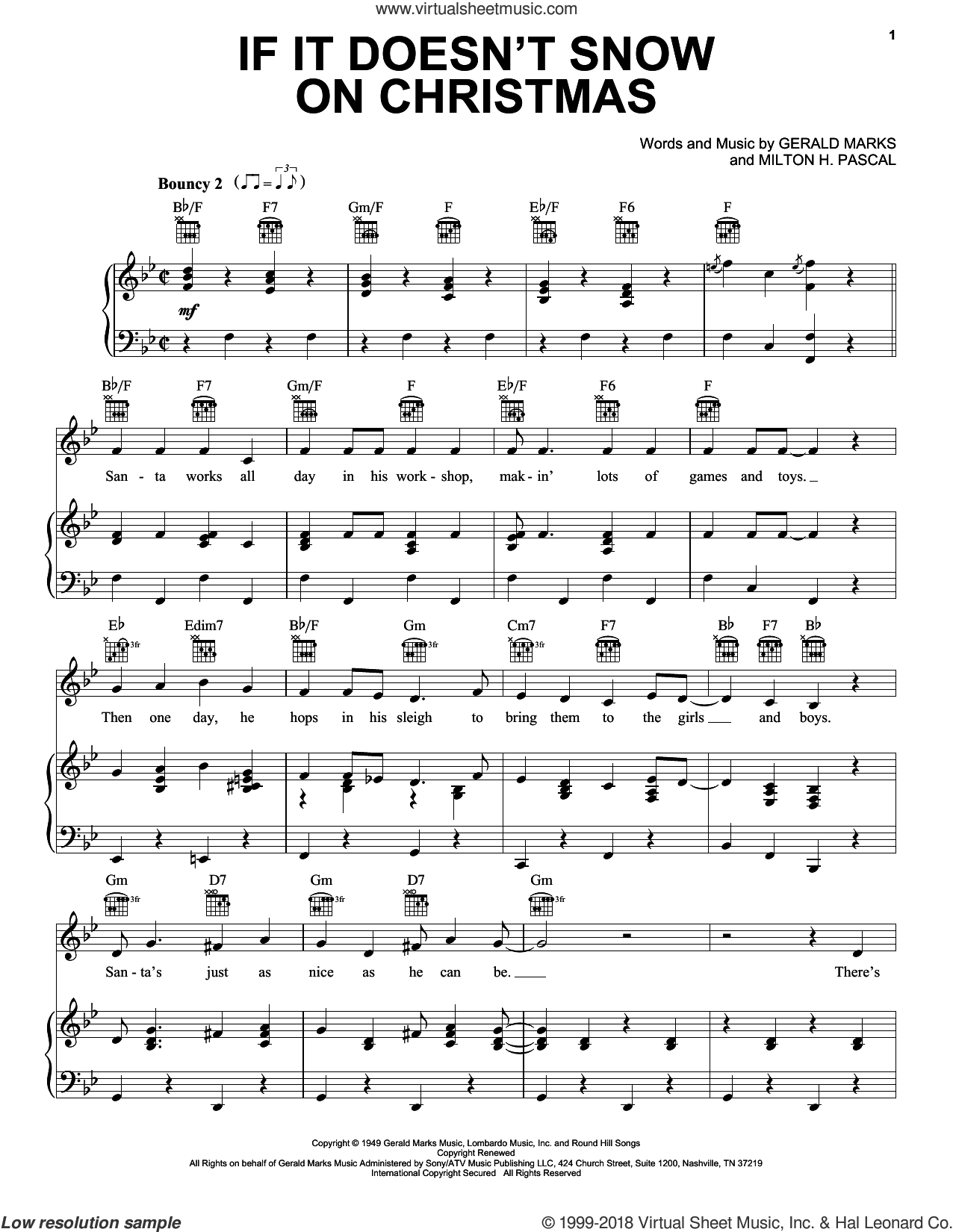 If It Doesn't Snow On Christmas sheet music for voice, piano or guitar by Gene Autry, Gerald Marks and Milton H. Pascal, intermediate skill level