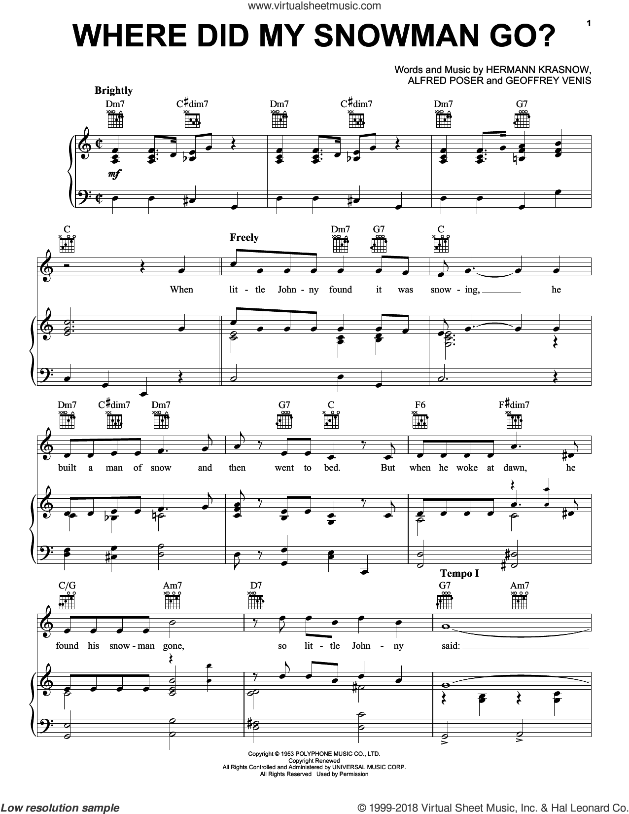 Where Did My Snowman Go? sheet music for voice, piano or guitar by Hermann Krasnow