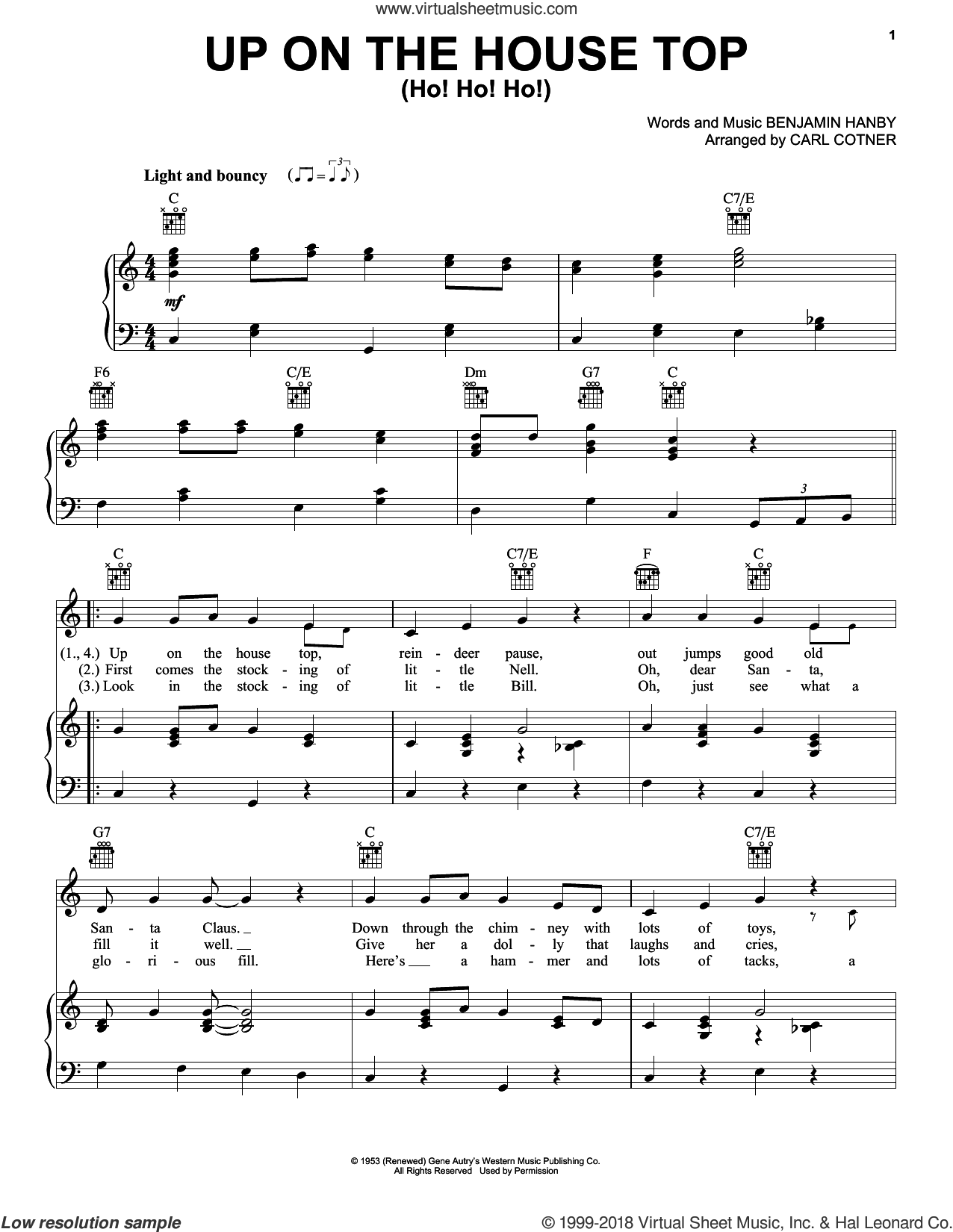 Up On The House Top (Ho! Ho! Ho!) sheet music for voice, piano or guitar by Gene Autry and Benjamin Hanby, intermediate skill level