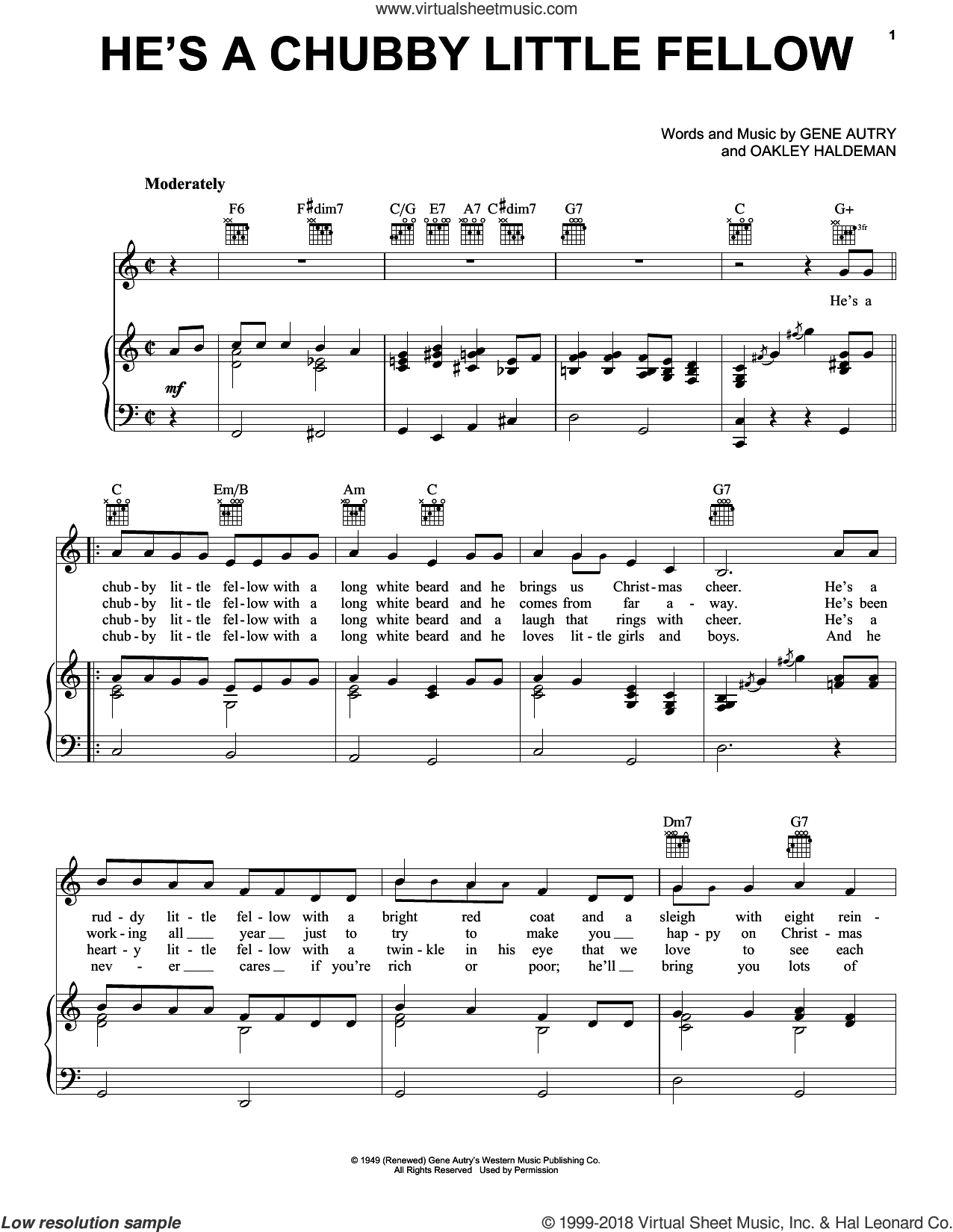 He's A Chubby Little Fellow sheet music for voice, piano or guitar by Gene Autry. Score Image Preview.