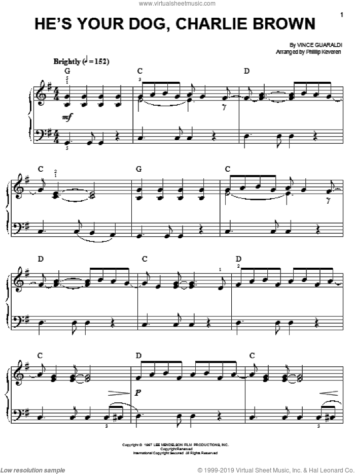 He's Your Dog, Charlie Brown sheet music for piano solo by Vince Guaraldi and Phillip Keveren, easy skill level