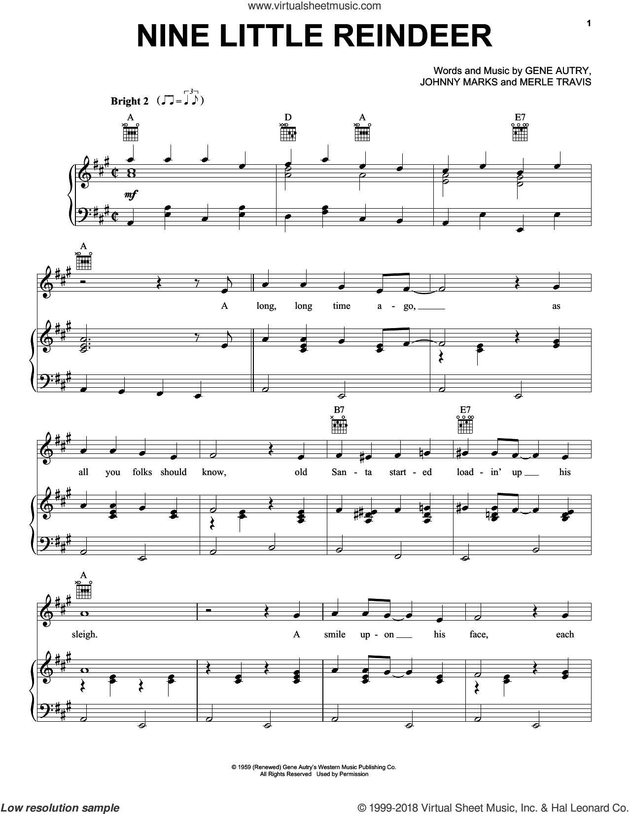 Nine Little Reindeer sheet music for voice, piano or guitar by Gene Autry, Johnny Marks and Merle Travis, intermediate. Score Image Preview.