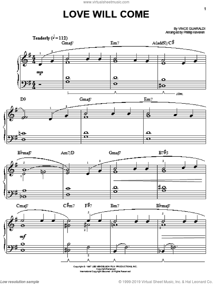 Love Will Come sheet music for piano solo by Vince Guaraldi and Phillip Keveren, easy. Score Image Preview.