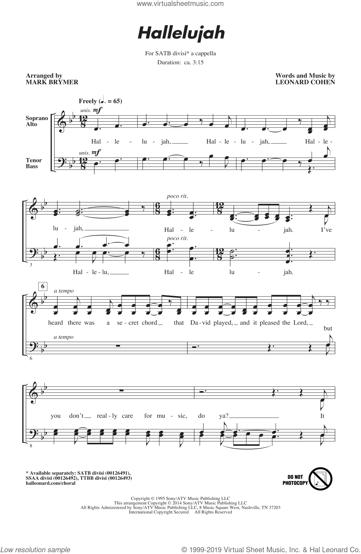 Hallelujah sheet music for choir (SATB) by Leonard Cohen and Mark Brymer. Score Image Preview.